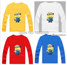 New 2015 100% Cotton boys t shirt despicable me 2 minion short t-shirts kids baby children t shirts, child long sleeve clothes(China (Mainland))
