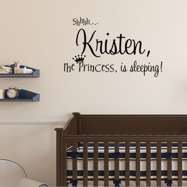 Custom English Name Princess Wall Stickers Quote Lettering baby girl bedroom decoration wall decals vinyl Art Mural home decor(China (Mainland))