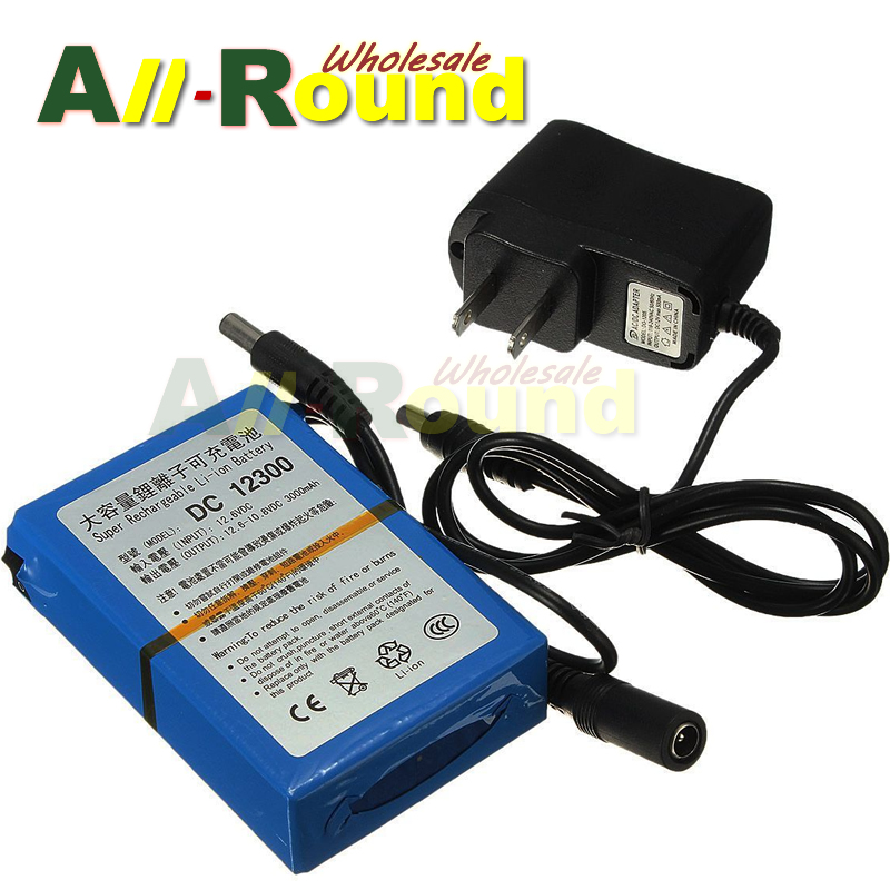 wholesale free shipping DC 3000mAh 12V 12300 Super Rechargeable Li-ion Battery Pack Portable for transmitter CCTV camera(China (Mainland))