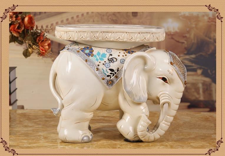 Hot White Elephant shape ottoman sofa stool footstool Antique footrest home furniture big size lucky crafts desktop decoration