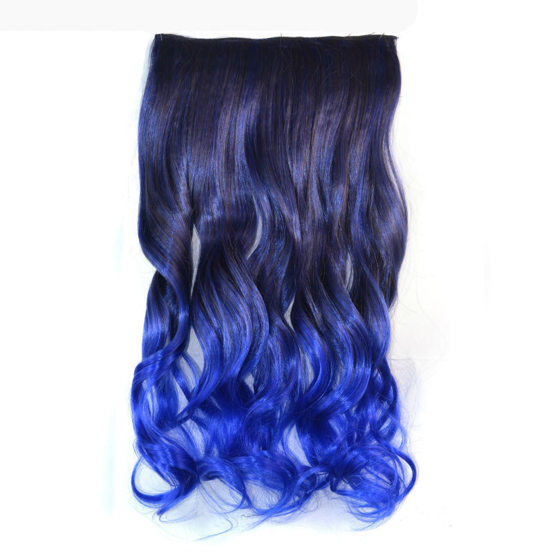 18 inch Synthetic Hair Piece Ombre Dip Dye Party Salon Festival Clip Curly Extensions Black + Blue - liao zhaofu's store