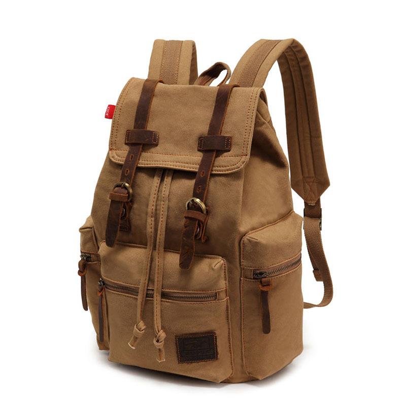 Men Vintage Satchel Canvas Leather Backpack Rucksack bags travel military  school Bag men sports outdoor hiking bag  HW03017  7e2f658ea7efb