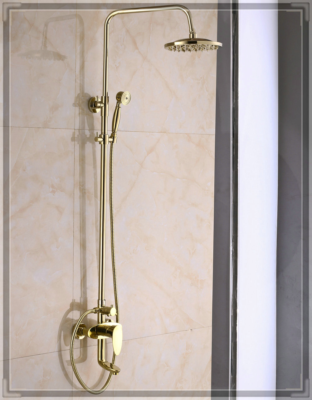 Gold finish bathroom rainfall shower faucet system swivel for Bathroom faucet finishes