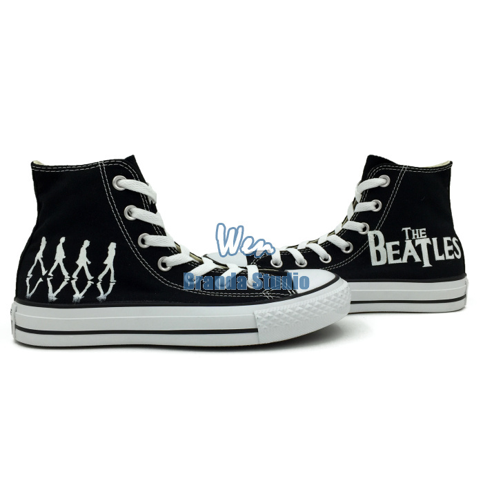 The Beatles Custom Design Hand Painted Shoes Black High Top Canvas Women Men's Sneakers Unisex(China (Mainland))
