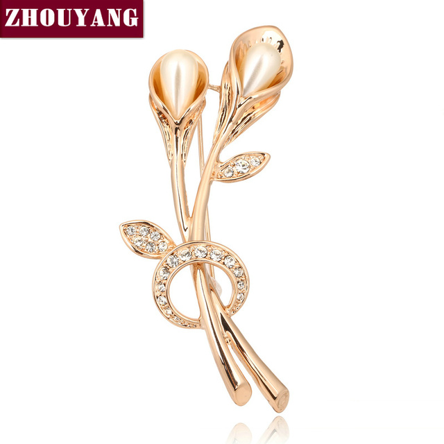 ZYX023 Tulip Imitation Pearl Crystal Brooches  Champagne Gold Plated  Jewelry Austrian Crystal  Wholesale