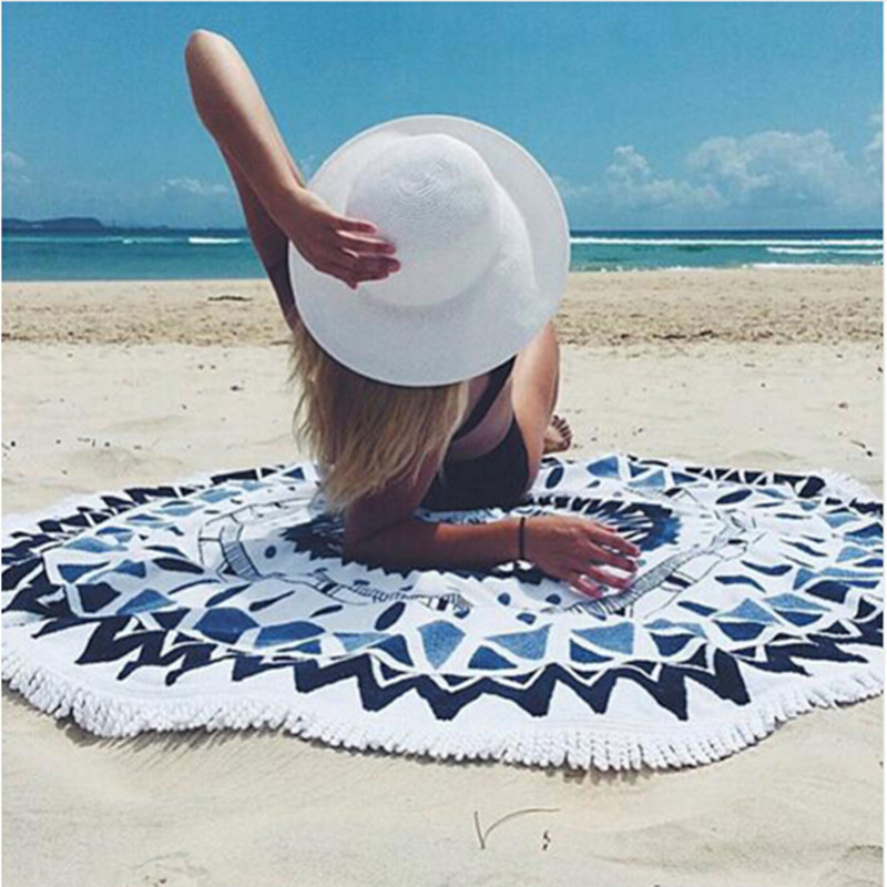 Microfiber Round Beach Towel 150cm Bath Towels Tassel Geometric Print Summer Women Sandy swimming Sunbath Baby Blanket covers up(China (Mainland))