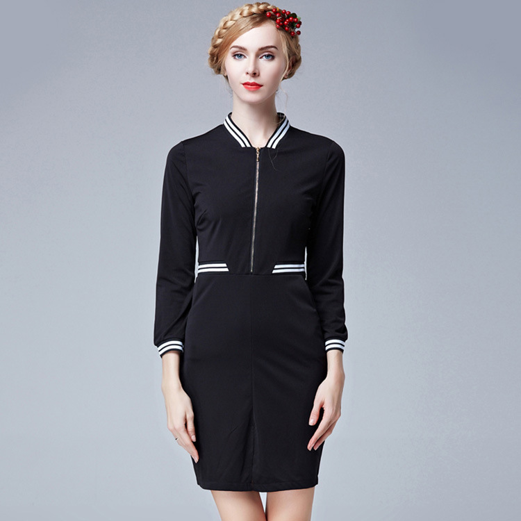 2015 new leisure and spelling in the autumn color v neck slim sleeve contrast color stitching kits hip step dress
