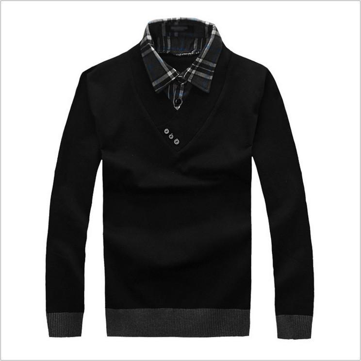 Collar decoration men v neck sweater men long sleeve shirt for Mens sweater collared shirt