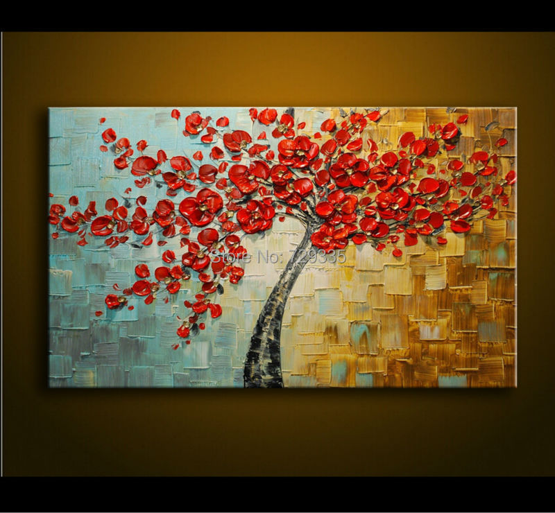 Картина (Home Art oil Painting)  Flowers#74 iarts aha072962 hand painted thick texture of knife painting trees oil painting red 60 x 40cm