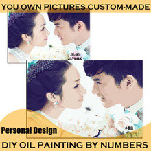Make Your Own Oil Painting by Numbers Personality Private Design Digital Painting Personal Picture Photos Custom Family /Wedding(China (Mainland))