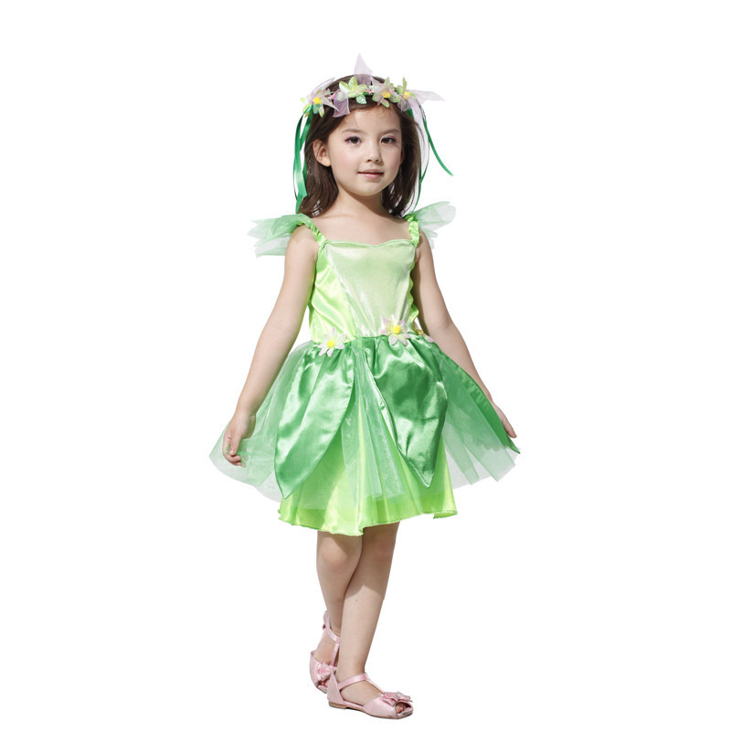 Factory Direct Green Sprite Spring Neverland Tinkerbell Garden Fairy Kids Halloween Costume Carnival Party Fantasia Fancy Dress(China (Mainland))
