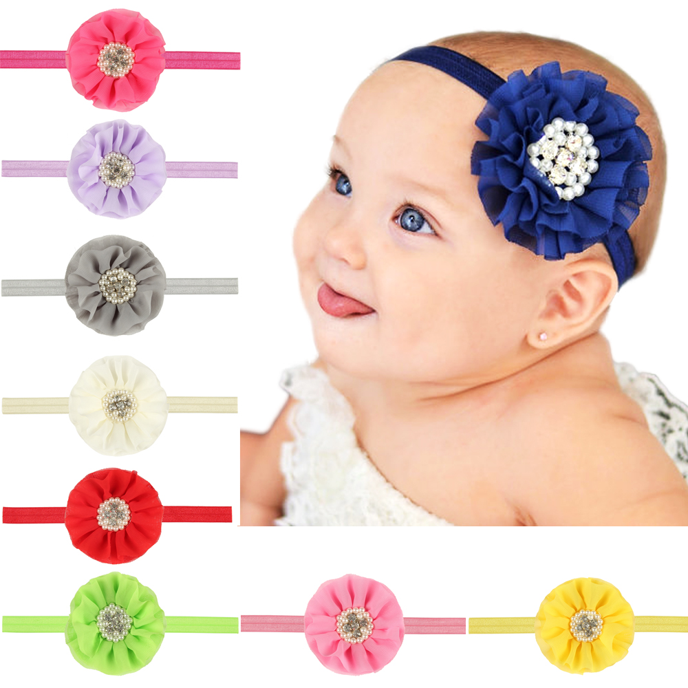Infant Baby Headbands Newborn Girl Chiffon Fabric Headband ...