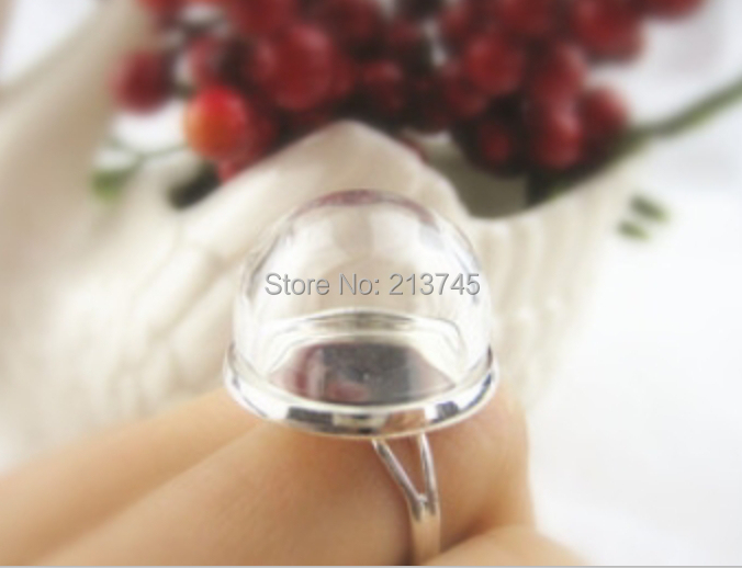 SALE Free Ship! 20sets/lot half ball 20mm Glass Bubble &20mm Ring base set DIY glass dome glass cover vials pendant(China (Mainland))