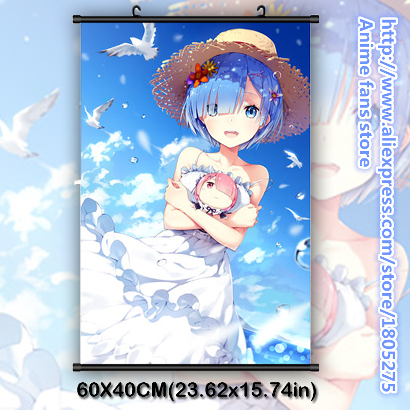 Re:Zero kara Hajimeru Isekai Seikatsu Rem & Ram Kawaii Japanese Anime Wall Scroll Poster Home Decor Bedroom decorative painting - fans store