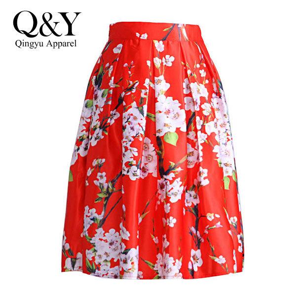 2015 Spring Summer Brand New Women Sakura Floral Print Elastic High Waist Pleated Long Midi Skirt 4 Colors Red White Green Black - Qingyu Apparel store