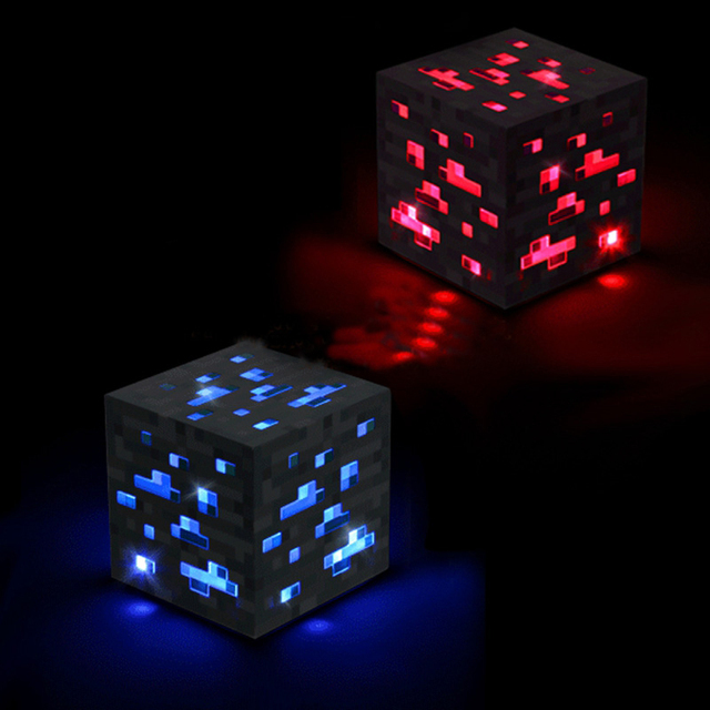 Minecraft Light Up Redstone Ore Blue stone diamond Square Night light touch LED Lamp minecraft toys for kids gift