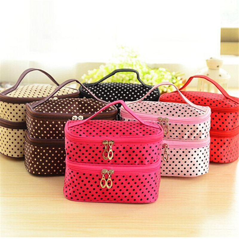 Fahion Double layer small dots cosmetic bag makeup tool storage bag multifunctional Storage package free shipping ES385(China (Mainland))