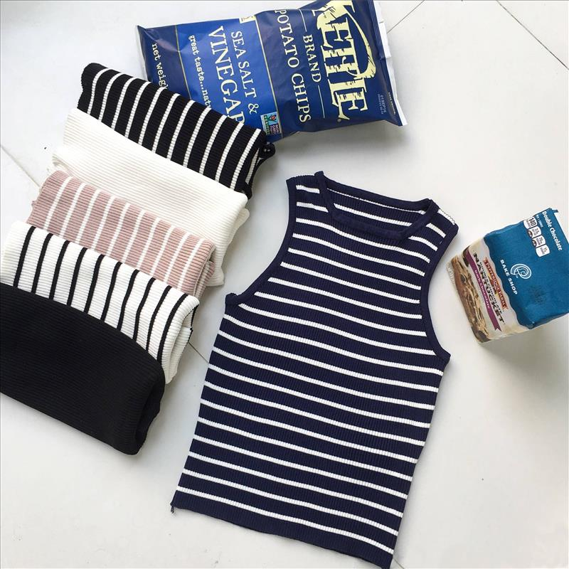 Elastic Knitted Bustier Women 39 S Black And White Striped