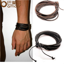 Buy HOT Leather Bracelets & Bangles Men Women Black Brown Braided Rope Fashion Man Jewelry 2pcs PI0246 for $1.91 in AliExpress store