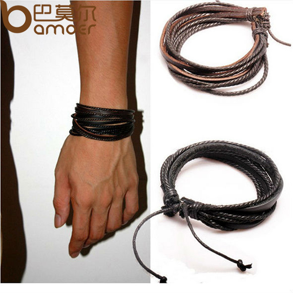 HOT Wrap Leather Bracelets & Bangles for Men and Women Black and Brown Braided Rope Fashion Man Jewelry 2pcs PI0246