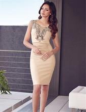 R80082 Elegant beige fashion bodycon dress o-neck sleeveless knee length dresses women good quality and design summer dress 2015(China (Mainland))