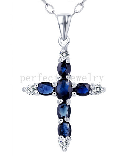 Sapphire necklace pendant Natural real sapphire charm pendants 925 sterling silver Cross style #15042406