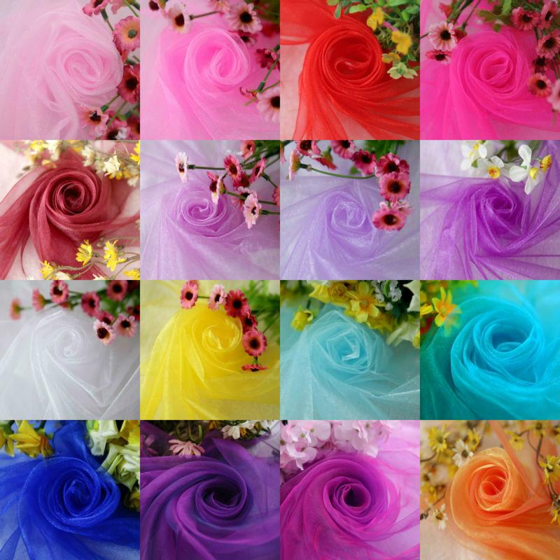 Size 48CM*5M 1pcs/lot Organza Silk Flower Crystal Organza Snow Yarn Fabric For Decoration Wedding Party Decoration Free Shipping(China (Mainland))