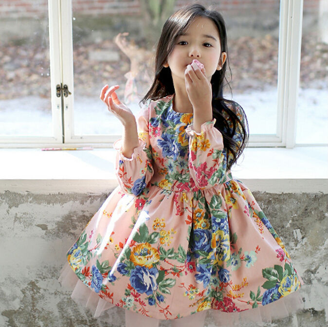 2015 New Korean Style Long Sleeve Floral Print Girl Princess Dress With Scarf Spring Autumn Children Prined Dress Garment<br><br>Aliexpress