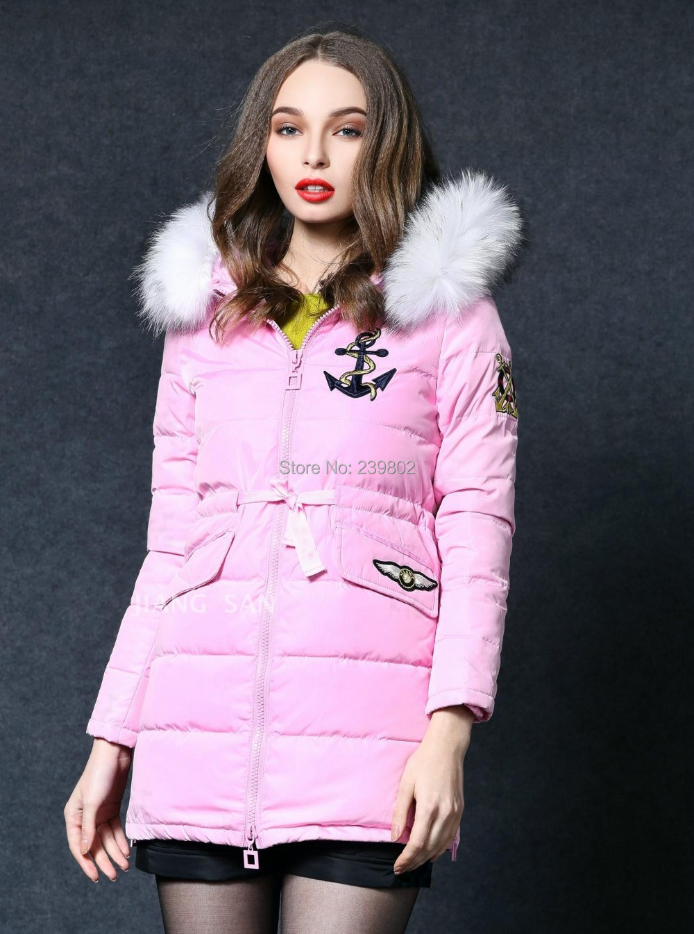 2015 jacket winter coat thicken Slim female raccoon fur collar long women parka hots - Brand Sport Clothing store