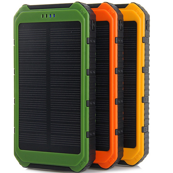Portable Waterproof 10000mAh solar power bank Dual-USB Solar Panel Battery Charger for All Mobile Phone(China (Mainland))