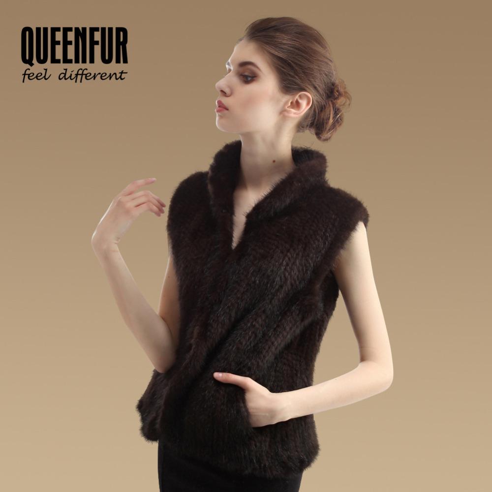 QUEENFUR New Genuine Mink Fur Vest Fashion Women Knitted Natural Mink Fur Gilet Jacket Winter Real Mink Waistcoats(China (Mainland))