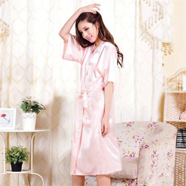 Sexy Summer Satin Hot Robe Nightdress Women Robe 2015 New Sale Kimono Silk Sexy Satin 2015 Robe High Quality Night(China (Mainland))