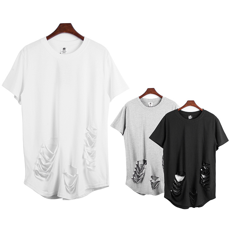 cool longline Kanye west ripped t shirt extended tee solid ...