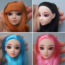 Excellent Quality Doll Head with Colorized straight Hair DIY Accessories For Barbie Dolls head 1/6 doll head for girl toy gift(China (Mainland))