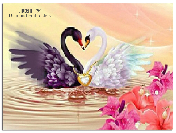 Love heart Diamond painting cross stitch animal swans Embroidery with diamonds mosaic Diy picture patchwork handicraft hobby(China (Mainland))