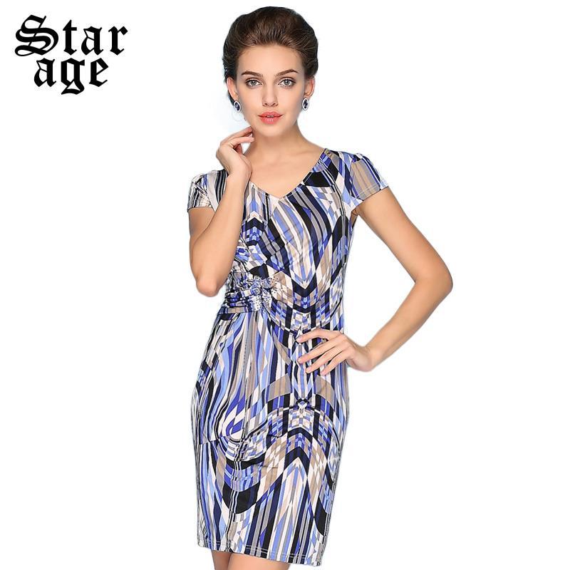 M-XXXL Summer Women Crystal Beaded Geometric Print Dresses Sexy Ladies V-Neck Short Sleeve Above Knee Ice Silk Dress 8012(China (Mainland))