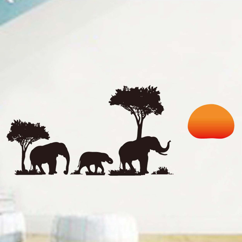 Wall stickers home decoration living room africa elephant for Applique mural