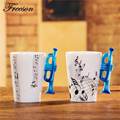 Lovely Music Blue Trumpet Bone China Coffee Mug 240ml Ceramic Tea Mug Porcelain Zakka Novelty for
