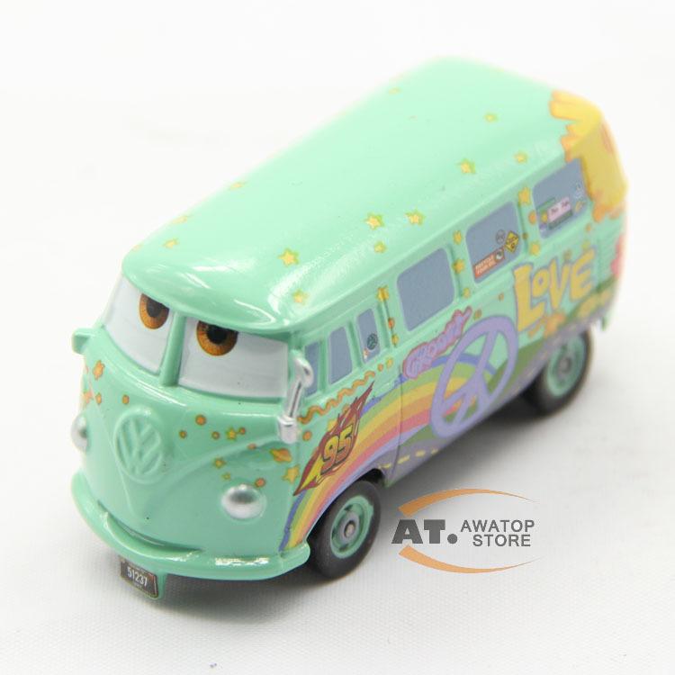 Pixar Cars 2 mini school bus Fillmore Diecast Metal Toy Car kids toys 1:55 Scale(China (Mainland))