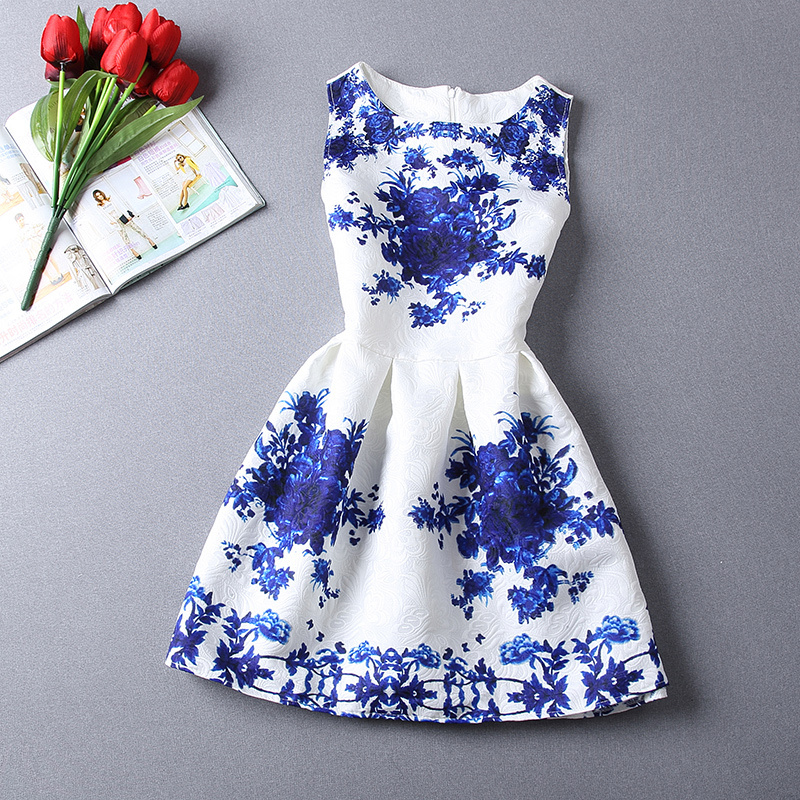 Womens Summer Dresses 2015 Summer women casual print dress european style vest vintage women clothing Vestidos Dress Plus size(China (Mainland))