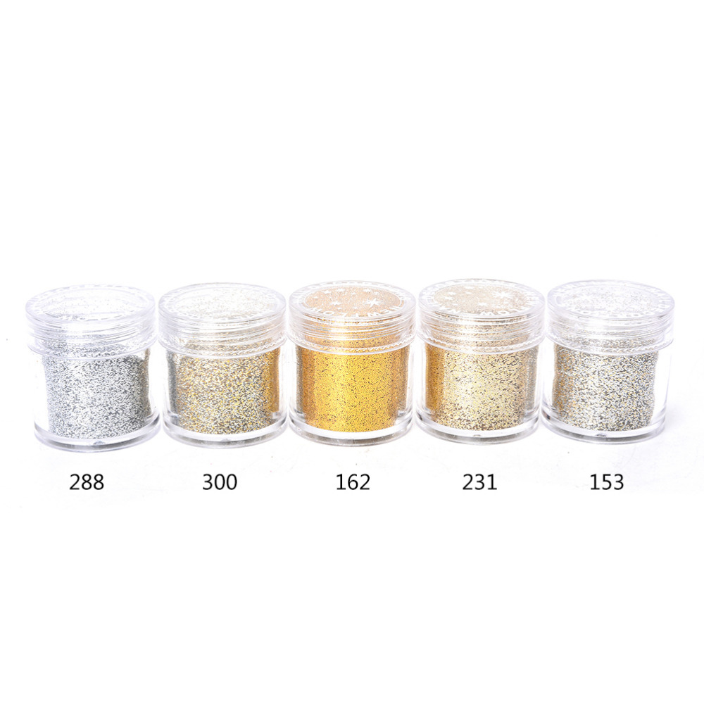 10ML 1Pc Gold Silver Nail Glitter Dust Fine Mix 3D Nail Sequins Acrylic Glitter Powder Large Nail Art Tips Decoration(China (Mainland))