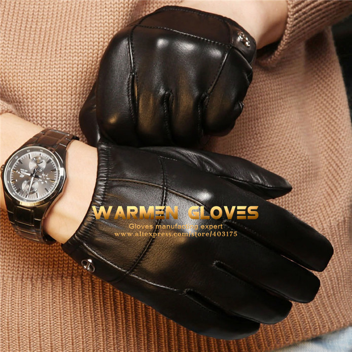 Elma Men's Iphone Ipad Touch Screen Wrist Winter Nappa Leather Gloves(China (Mainland))