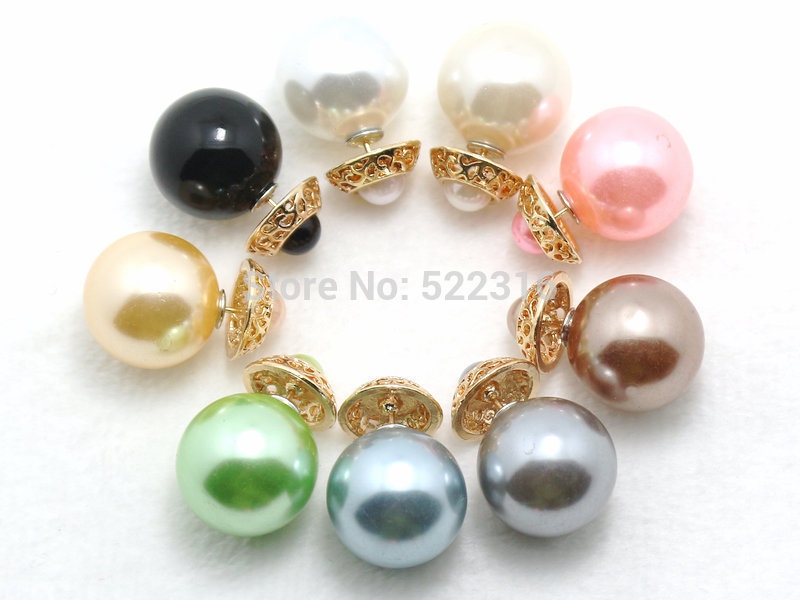double pearl earrings fashion brand 2015 new earring women hollow flower stud faced ear studs 2 balls - Time Gem Pendant Necklace store