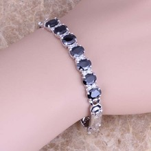Adorable White Topaz Black Sapphire 925 Sterling Silver Overlay Link Chain Bracelet 7 inch Free Shipping & Gift Bag S0519(China (Mainland))