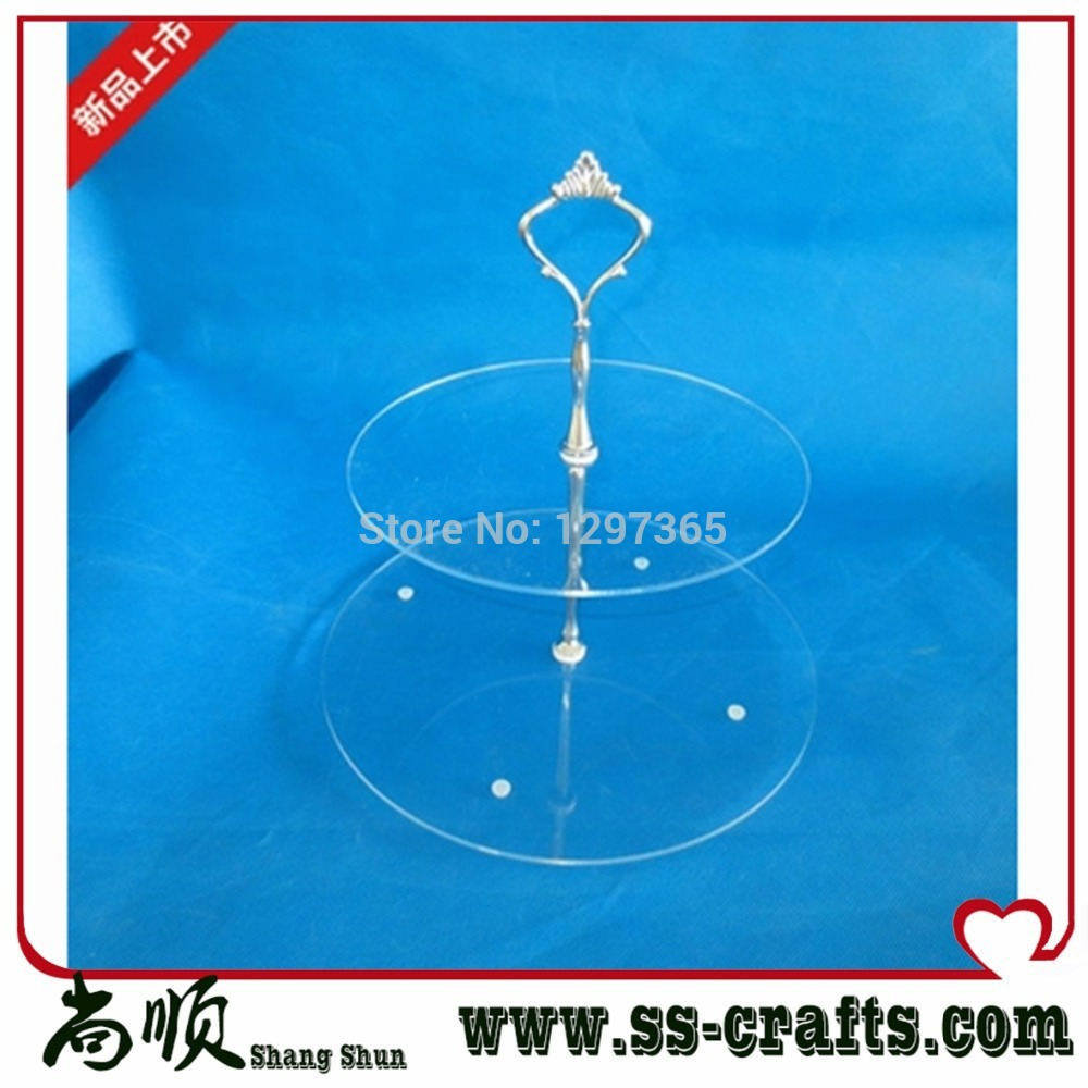 factory direct acrylic 2-tier cake stand acrylic cupcake stand free shipping wedding decoration(China (Mainland))