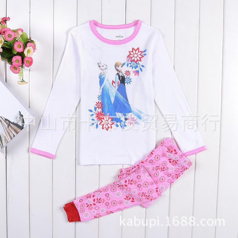 2014 new Frozen elsa anna princess 2-7T girls pajama 2pieces 100% cotton children clothing sleepwear set free shipping(China (Mainland))