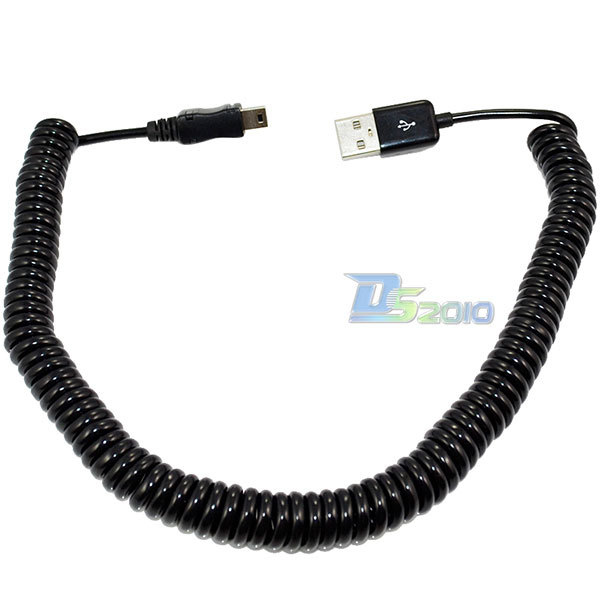 New Spiral Coiled USB A male M to Mini USB B 5Pin Male adapter adaptor Cable 3M 10FT(China (Mainland))