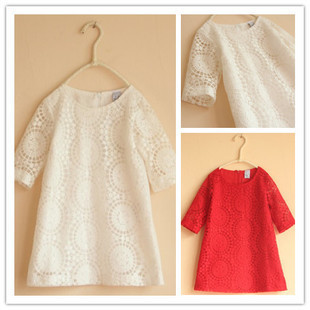 retail new 2015 summer and spring children clothing girls lace dress with half-sleeve Princess dress 2 colors red white dresses