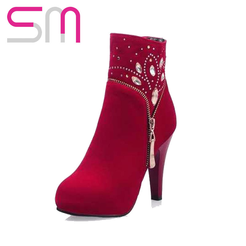 Здесь можно купить  Zip Solid Round Toe Platform Thin High Heels Casual Party Shoes Ankle Boots 2015 Concise Style Shoes Women Crystal Design  Обувь