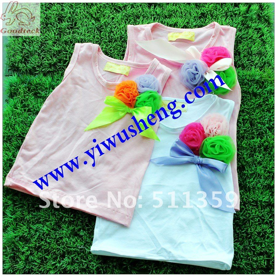 girl's pettitops fashion girl' t-shirts 2012 new design pettitops 30 pcs mix colors lovely and cute tops(China (Mainland))